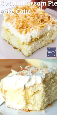 *VIDEO* Coconut Cream Pie Poke cake is a traditional cake topped with my favorite old fashioned coconut cream pie filling, whipped cream and toasted coconut. The best of both worlds! Coconut Poke Cakes, Coconut Desserts, Coconut Recipes, Just Desserts, Baking Recipes, Coconut Cheesecake, Best Coconut Cake Recipe, Coconut Cake Easy, Coconut Pineapple Cake