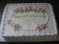Anniversary Sheet Cake Ideas | Anniversary - This is an 11x15 sheet cake with pink royal icing roses ...
