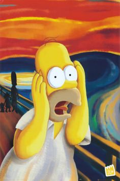 A rendition of The Scream featuring Homer Simpson. The Scream is the popular name given to a series of four compositions by the Expressionist artist Edvard Munch. Edvard Munch, Homer Simpson, Simpson Tv, The Simpsons, Le Cri Munch, Scream Parody, Simpson Tumblr, Los Simsons, Scary Faces