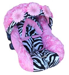 Nollie Covers Infant Car Seat Cover Baby Zebra Rose