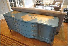 LOVE the idea of a dresser as a sofa table!