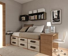 small bedroom idea...like box shelves on wall! Great use of the small space! (DON'T USE THE LINK!) Click to see a video learn how to make MONEY