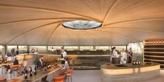 Image 1 of 7 from gallery of Foster+Partners Reveal Conceptual Design for Winery in Saint-Émilion, France. Photograph by Foster + Partners Norman Foster, Atrium, Chateau Margaux Wine, Bordeaux, Timber Roof, Saint Emilion, Weathering Steel, Foster Partners, Timber Structure