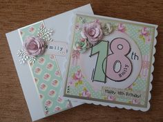Card made using 18th birthday stamp from Woodware.