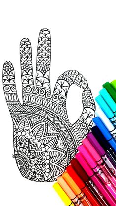 Colouring Page with a Zen hand for grown ups, perfect for those who like coloring pages and more complex work with many colors. Its color therapy!