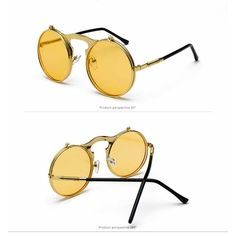 b8bad71b8af Flip Up Sunglasses Steam punk Men Circle Sun glasses Vintage Round