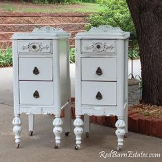 Items similar to Pair of White Nightstands CUSTOM ORDER We Find - Refinish - And Paint - Antique Bedside Tables Shabby Chic French Country Farmhouse on Etsy Hand Painted Furniture, Repurposed Furniture, Shabby Chic Furniture, Rustic Furniture, Antique Furniture, Home Furniture, Modern Furniture, Outdoor Furniture, Furniture Ideas