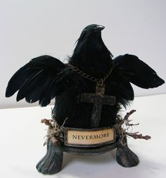 Nevermore - Ode To Poe - Mixed Media Raven Sculpture $55.00