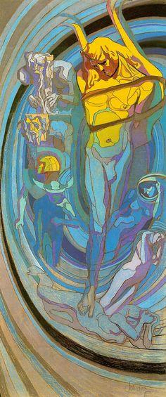 """""""Apollo"""" (1904) by Stanisław Wyspiański (1869-1907), stained glass design, pastel, 343 x 146 cm, National Museum, Cracow"""
