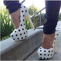 Chic Polka Dot Platform Stiletto Heels