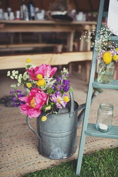 Rustic themed pot plant ideas.