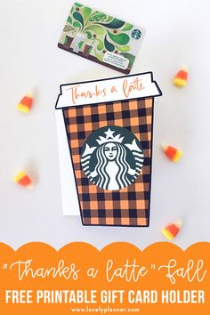 """Free Printable fall """"Thanks a latte"""" Starbucks gift card holder will be a perfect gift idea for many occasions and many recipients. Perfect gift idea for teachers, neighbors, friends and family! A perfect gift for any coffee lovers really! Thanksgiving Teacher Gifts, Halloween Teacher Gifts, Thanks A Latte, Printable Gift Cards, Free Gift Cards, Gift Tags, Free Starbucks Gift Card, Starbucks Gift Ideas, Diy Gifts For Kids"""