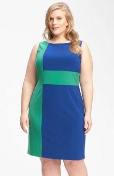 Adrianna Papell Colorblock Jersey Sheath Dress (Plus) | Nordstrom