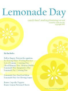 Lemonade Day - Summer Learning Fun. $10.00, via my friend Candy's {NEW} Etsy shop!