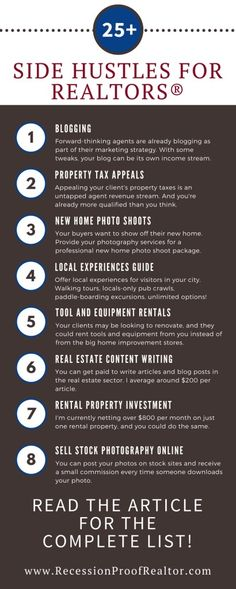 Impressive list of over 25 ways to make money as a real estate agent Are you looking to add new income streams to your real estate business? Check out this list of ways to make money as a real estate agent. Real Estate School, Real Estate Career, Real Estate Agency, Real Estate Tips, Selling Real Estate, Real Estate Broker, Real Estate Investing, Real Estate Marketing, Real Estate Business Plan