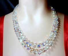 Vintage Aurora Borealis Faceted Crystal Bead Two Strand Necklace  | eBay £104.34 (BIN) USA