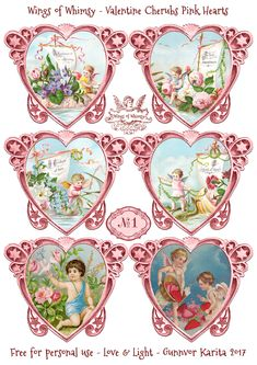 Wings of Whimsy: Valentine Cherubs Hearts Pink #vintage #ephemera #freebie #printable #valentine #heart #cherub