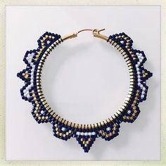"""Era"" Hoops. Navy blue, white and galvanized yellow gold Delica beads. 14k gold filled hoops. 2.5""x2.5"" #beadedhoops #beadweaving #handwoven #statementearrings #vancouverjewelry #offloom #beadedearrings #yvrartist #beadwork #hoopearrings"