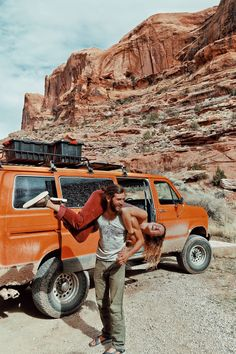 """They call it their """"big orange Ford E350 home,"""" but to many, it just looks like a car. When unsatisfied with the weight of earthly possessions wearing them down, Brianna Madia and her husband packed the least they could and headed out to a life on the road. Read more, on the blog."""