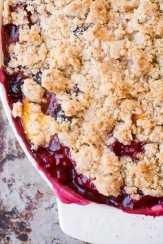 Quick and easy Summer Jumble Fruit Crumble uses up all kinds of leftover fruit into the most delicious way possible! ~ theviewfromgreatisland.com