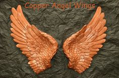 Vintage Antique Style Shabby Chic Copper Angel Wings Wall Art Decoration