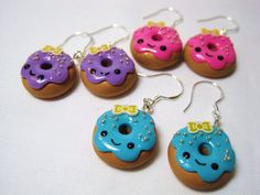 Kawaii Donut Sweets Polymer Clay Dangle Earrings by DoodieBear, $8.00