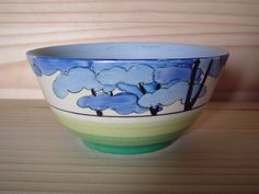 1933 Clarice Cliff Art Deco Bizarre Blue Firs Slop bowl