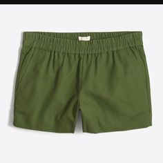"""SALE! J. Crew olive boardwalk shorts never dried FIRM AT $10 UNLESS YOU BUNDLE (DISCOUNT). 💕 Hurry! 1 green pair left!  3"""" inseam. Comfortable elastic waist pull on shorts from J. Crew factory. Very lightly worn & always line dried. Since the hems in this style tend to loosen, I had them reinforced by a professional seamstress. All 4 pairs I have listed have had this service to make sure they last! I have 3 navy blue pairs in a separate listing. Color is between olive and dk grass green…"""