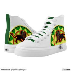 Rasta Lion Printed Shoes #saytoons #zipz #zazzle
