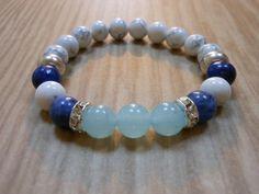 Aquamarine Sodalite Lapis Lazuli Mala by HickorySpringsDesign