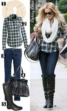 A escolha da Lindsey Lohan com botas, camisa xadrez e cachecol. Arrasou! <3