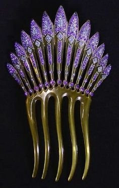 "cgmfindings: "" Antique Art Deco Hair Comb #purple """