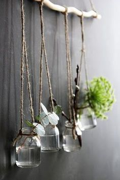 Recycled jars and get a beautiful wallhanging plant decor at home