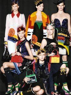 "PRADA SS S/S 2014 AD CAMPAIGN BRIGHT COLORFUL COLORBLOCK Photographer: Steven Meisel  Models: Anna Ewers, Aleksandra ""Ola"" Rudnicka, Julia B..."
