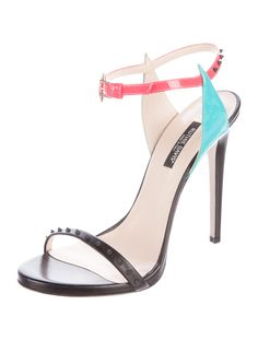 Black leather Ruthie Davis Paris sandals with stud embellishments at uppers, covered heels and antiqued gold-tone buckle closures at pink and teal patent leather ankle straps.
