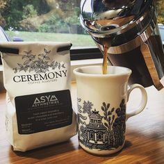French press on a rainy overcast day... Doesn't get much better than this! Thank you @ceremonycoffee for sending us your delicious coffee! So excited to be working with you all! Happy Friday! #makelabels #weloveourcustomers #ceremonycoffeeroasters #welovecoffee #frenchpress #frontierlabel