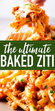 Baked Ziti with Sausage: The best way to satisfy all of your comfort food cravings. With a homemade (and healthy veggie filled!) meat sauce, with creamy layers of sour cream and plenty of cheese, this pasta casserole is one of those meals you'll want to m Baked Ziti With Ricotta, Baked Ziti With Sausage, Easy Baked Ziti, Baked Ziti Recipe With Cream Cheese, Pasta Sauce With Sour Cream, Ziti Recipes With Sausage, Baked Ziti With Meatballs, Baked Ziti With Chicken, Sausage Pasta Bake