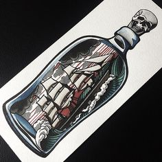 ship in a bottle tattoos - Google Search