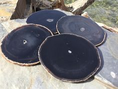 Agate Coasters Set of 4 ~ Agate Coasters PURE BLACK with crystal centers~ Geode Coasters Geode Coaster Set ~ Natural Edge. by HandmadeByGin on Etsy Coaster Holder, Coaster Set, Brazilian Agate, Agate Coasters, Pure Products, Crystals, Unique Jewelry, Natural, Handmade Gifts