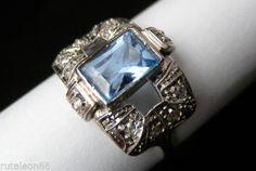 VINTAGE anillo platino, diamantes y aguamarina (talla 16) Size 56 in Relojes y joyas, Vintage y joyería antigua | eBay