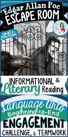 Prepare yourself and your students for beginning-to-end excitement with this engaging lesson in ELA skills and critical thinking! Your students will love the English Language Arts lessons embedded in this escape room - as they engage in problem-solving an Escape Room, Middle School Ela, Middle School English, Edgar Allan Poe, 9th Grade English, Ap English, English Reading, Learn English, 8th Grade Ela