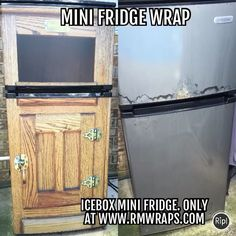 Change the look of your mini fridge by wrapping it with unique prints. Every order is custom size to fit the product that you are going to wrap Kitchen Refrigerator, Mini Kitchen, Mini Fridge, Kitchen And Bath, Roland Printer, Wraps, Doors, Appliance, Prints