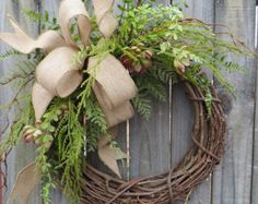 Succulent Wreath - Wreath Great for All Year Round - Everyday Burlap Wreath, Door Wreath, Front Door Wreath by fougere Wreath Crafts, Diy Wreath, Grapevine Wreath, Burlap Wreath, Diy Crafts, Greenery Wreath, Wreath Hanger, Wreath Ideas, Burlap Ribbon