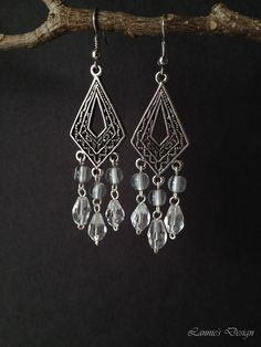Free Shipping within USA Transparent Clear Chandelier earrings by LanniesDesign