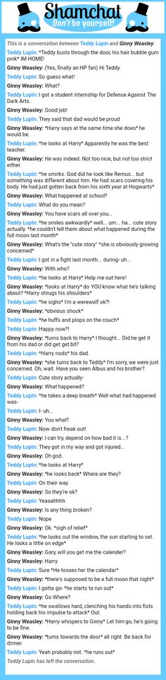 A conversation between Ginny Weasley and Teddy Lupin