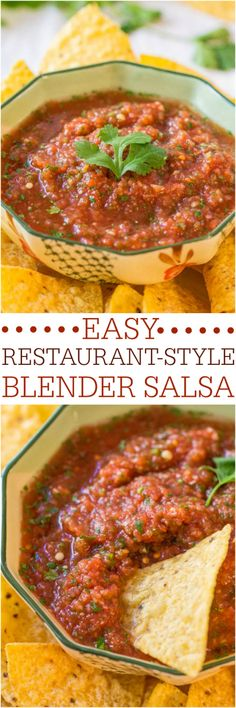 Salsa recipe Easy Restaurant-Style Blender Salsa - Make your own salsa in minutes! Fast, easy, goofproof and tastes better than anything you'd buy! Think Food, I Love Food, Good Food, Yummy Food, Pesto, Blender Salsa, Fingers Food, Easy Restaurant, Restaurant Style Salsa