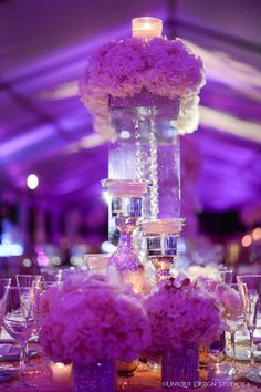 Stunning view of Dominique & Dawan Landry's floating hydrangea and hanging crystal centepiece. Wedding and design by Tiffany Cook Events