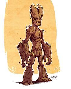 Groot fan art. Grab prints of this guy at dereklaufman.com (link in my profile) #groot #gaurdiansofthegalaxy #marvel