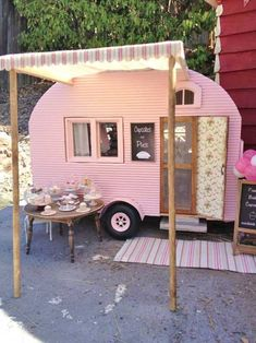 Miniature camper by Kim Saulter Tiny home house on wheels, pink travel trailer, glam glamour camping glamping, homemade awining, perfect little guest house. Vintage Caravans, Vintage Travel Trailers, Tiny Trailers, Camper Trailers, Retro Trailers, Shasta Trailer, Retro Campers, Happy Campers, Retro Caravan
