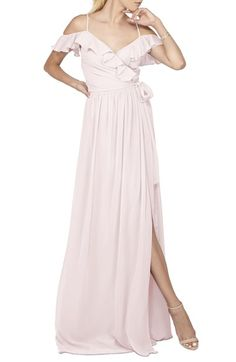 Ceremony by Joanna August 'Portia' Off the Shoulder Ruffle Wrap Chiffon Gown available at #Nordstrom